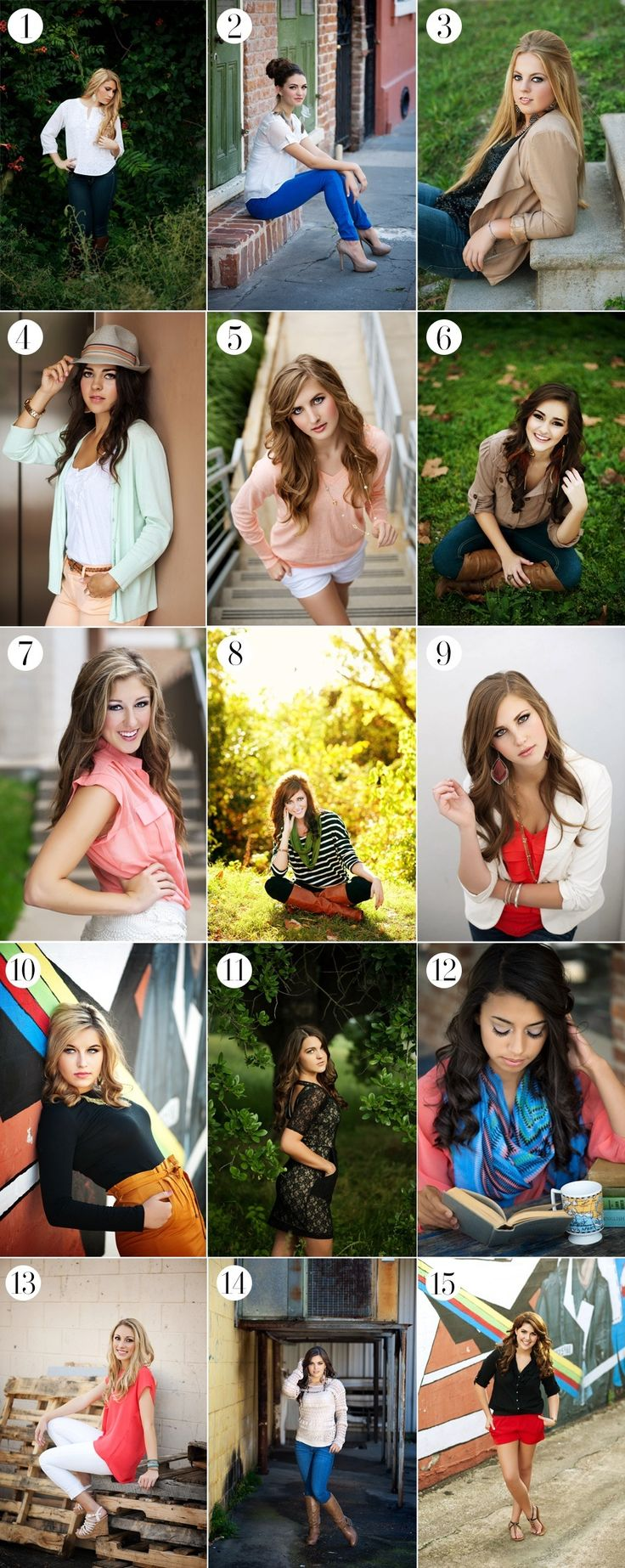 Portrait ideas... No9 is a great outfit, and I love the lifestyle concept of no 12