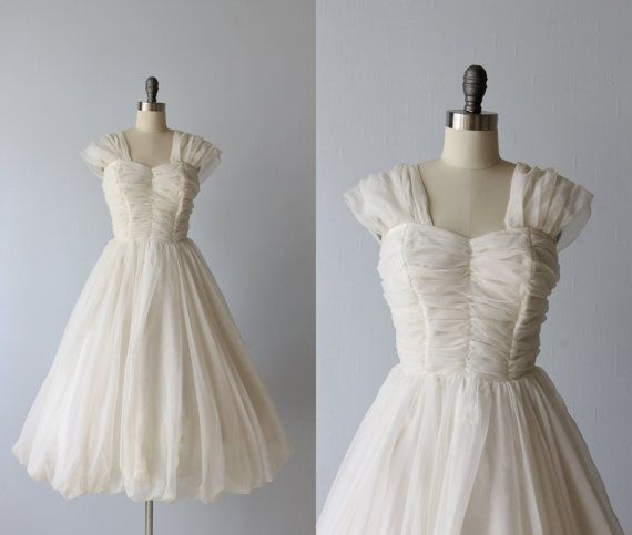 1960s Dress / Chiffon Dress / White / Bubble Hem / Formal Dress / Swan