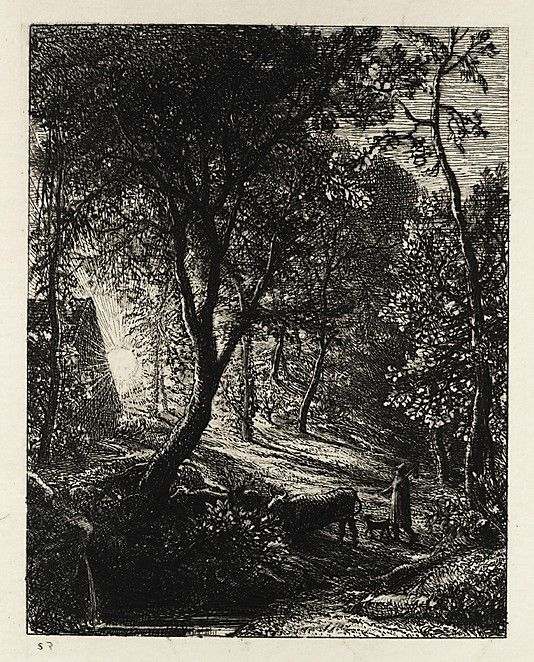 The Herdsman's Cottage, or Sunset, 1850, Samuel Palmer  (British, London 1805–1881 Redhill, Surrey) Etching; second state or two