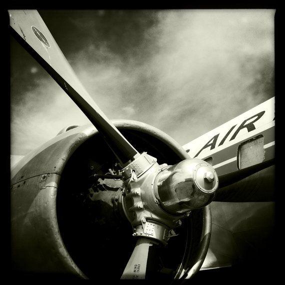 "Vintage World War II Airplane Propeller Engine 2, Aviation, 8""x8"" Photograph, Vintage Airplane, Aircraft Wing, Airplane Decor"