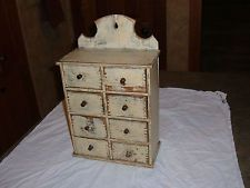 PRIMITIVE ANTIQUE 8 DRAWER SPICE APOTHECARY CABINET CHEST, SHABBY C.