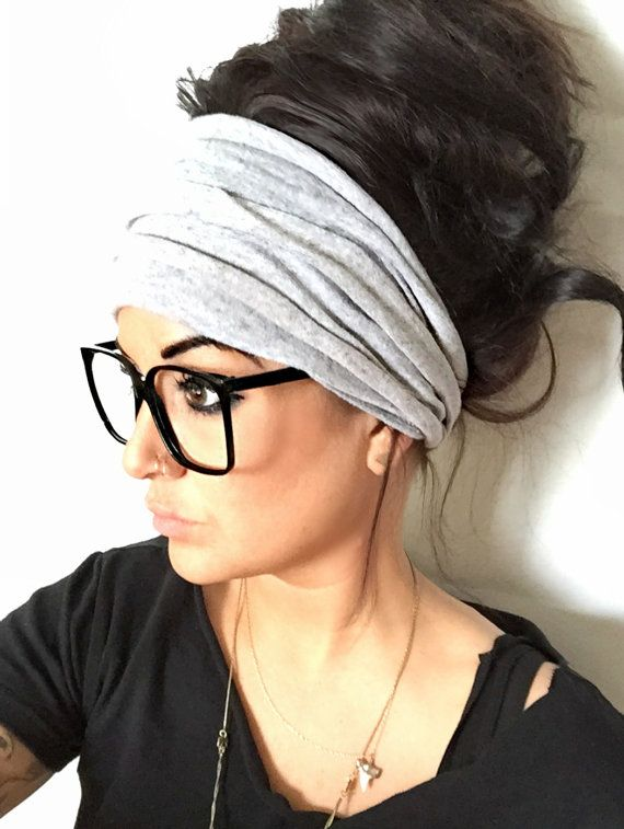 FREE SHIPPING Gray Scrunch Headband Extra Wide by pebbyforevee