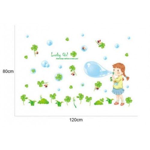 Kislány 4 levelű lóhere, buborékok falmatrica