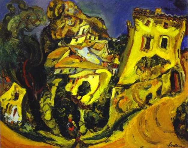 soutine paintings | Landscape at Cagnes (La Gaude) - Chaim Soutine - WikiPaintings.org