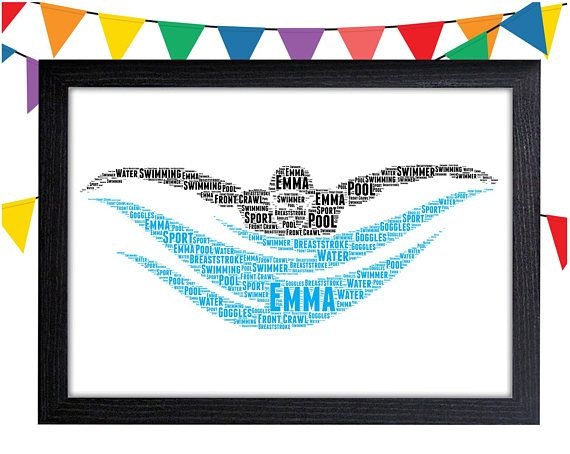 Personalised Swimming Swimmer Gift Word Art Wall Room Decor Prints
