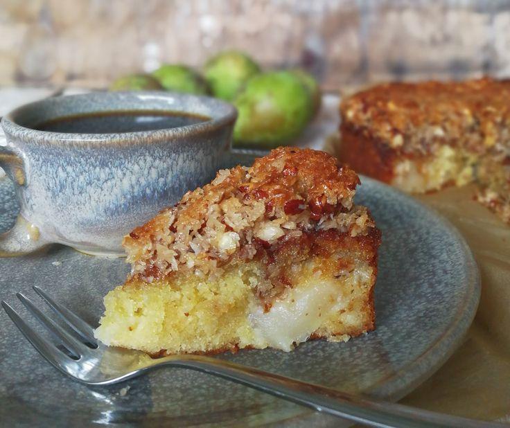 Drømmekage med pærer (recipe in Danish)