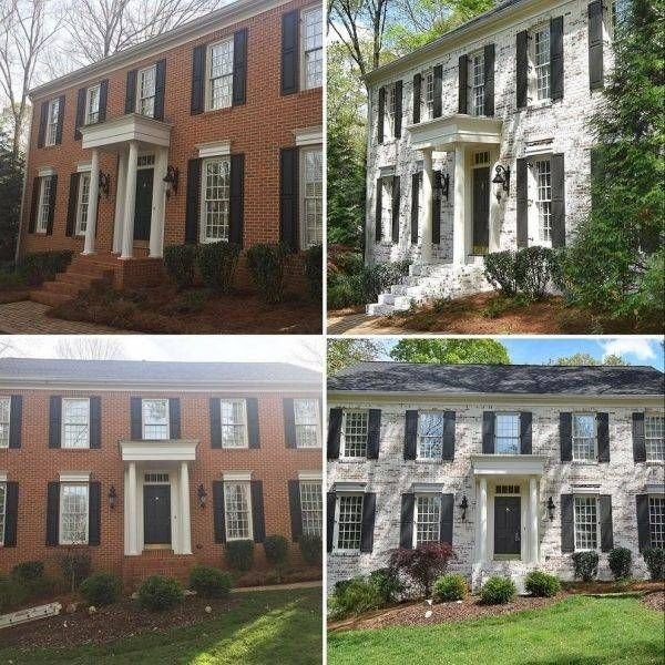 Lime Washed Red Brick Before And After Brick Exterior House Painted Brick House White Wash Brick Exterior