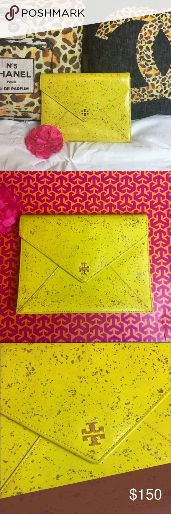 TORY BURCH Neon Yellow Clutch Gorgeous envelope clutch with metallic splatter details. Great preowned condition Tory Burch Bags Clutches & Wristlets