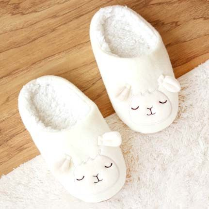 Adorable Sheep Baby Lamb Animal Shaped Slip-On Slippers for Women in White