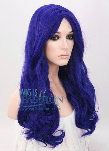 "21"" Long Curly Royal Blue Fashion Synthetic Hair Wig WIG093"
