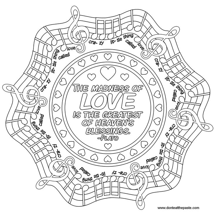 love quote mandala to color music quote words words colouring pages for adults pinterest. Black Bedroom Furniture Sets. Home Design Ideas