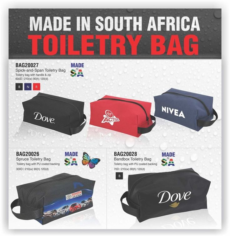 Toiletry bags from Best Branding. BAG20027Spick-and-span- toiletry bag with 1 colour screen print BAG20026Spruce toiletry bag with full colour sublimation print BAG20028Bandbox toiletry bag with 1 colour screen print