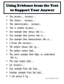 Common Core Booster: Text-Based Answers (Sentence Writing Prompts) - MsJordanReads - TeachersPayTeachers.com