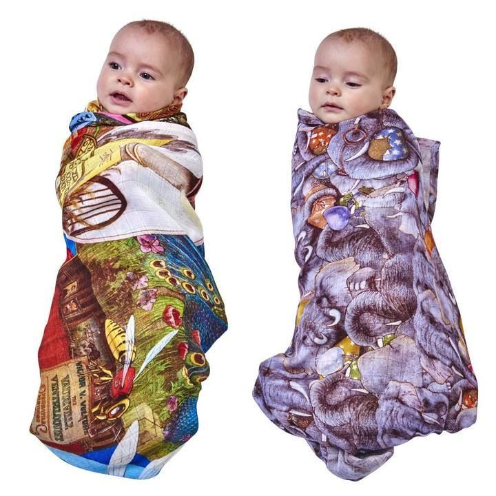 Kip & Co - Animalia Swaddle Set Cover To Cover, Enormous Elephants
