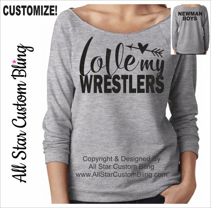 Love My Wrestlers Raw Edge Terry Raglan, Wrestling Mom Shirt, Custom Wrestling Shirt, Love Wrestler Shirt, Personalized Wrestling Mom Shirt by AllStarCustomBling on Etsy