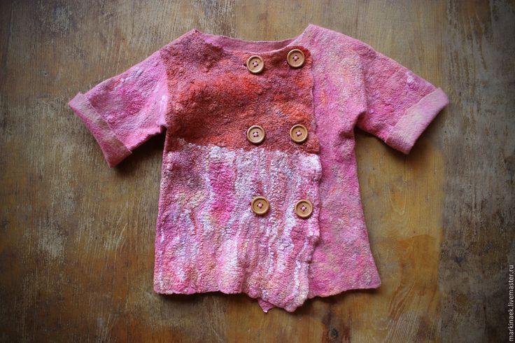 """Купить Валяный жакет для девочки """"Малинка"""" - розовый, жакет, жакет ручной работы, Детский жакет"""