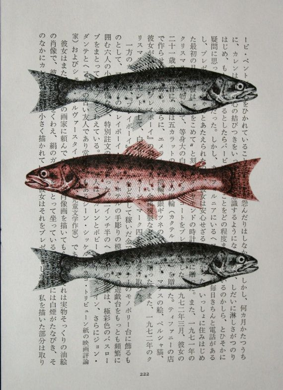 "Beach and seaside decor:  fish trio on a vintage Japanese book page; a dozen more sea creatures available in 5x7"" prints, by CrowBiz"