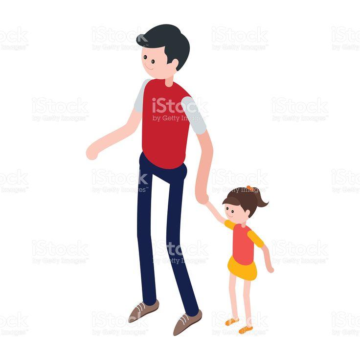 Isometrici uomo e bambino. Illustrazione 92532971 - iStock