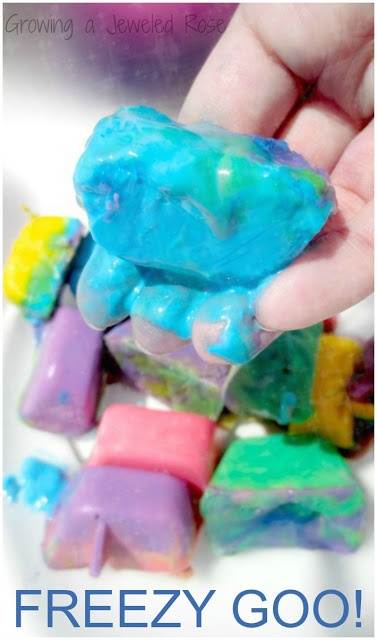 Amazing FREEZY GOO Play Recipe from Growing a Jeweled Rose- Freezy goo is icy cold and acts as both a liquid and a solid interchangeably.  It starts out as ice and slowly transforms to GOO! (A SUPER fun way to beat the heat this Summer!)