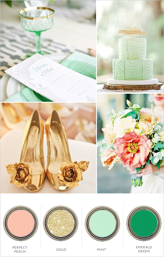 gold peach mint and emerald wedding color palette, I like the color gold on the swatch not the shoes and I would also a a cream color and maybe off white