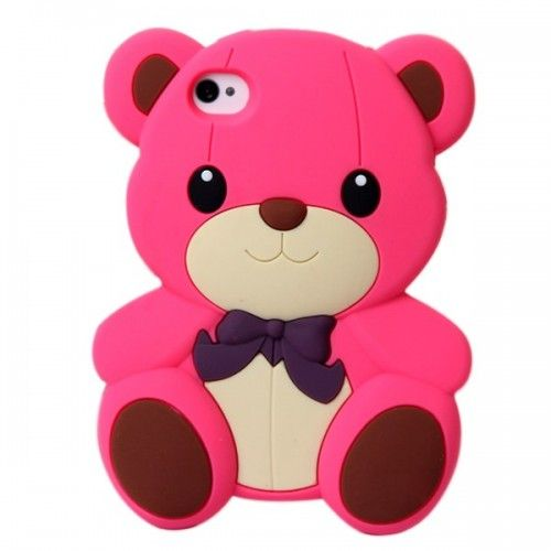 Rose Red teddy bear iphone 4 case CUTE 3D cartoon cover - Aulola Online Store $2.83