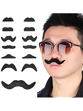 Fake Self-Adhesive Stick-On Mustache Disguise Novelty Toys Set for Birthday, Costume Party, Event Supplies, Favors (48 Pack) ❤ Super Z Outlet®