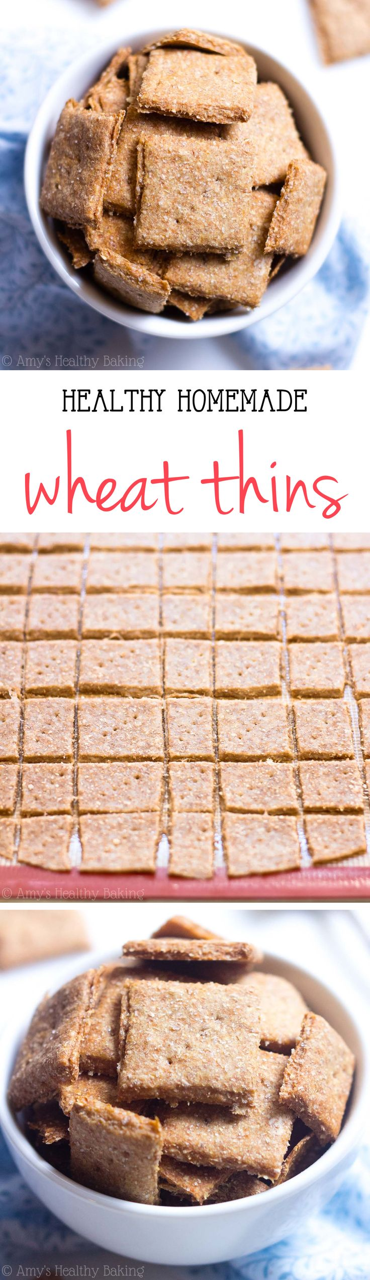 Clean-Eating Homemade Wheat Thins -- just 5 ingredients to make these crunchy crackers! SO much better, healthier & cheaper than store-bought! | healthy homemade crackers | easy homemade crackers | whole wheat homemade crackers