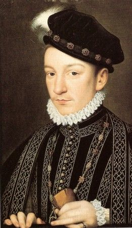 """Charles IX of France, after François Clouet, c. 1565. The Venetian ambassador Giovanni Michiel described Charles as """"an admirable child, with fine eyes, gracious movements, though he is not robust. He favours physical exercise that is too violent for his health, for he suffers from shortness of breath"""".[61]"""