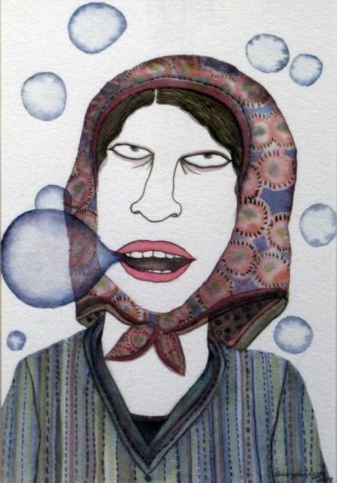 Dhruvi Acharya, Woman in Scarf IX, Watercolor on Paper, 17.7 x 12.6 cm