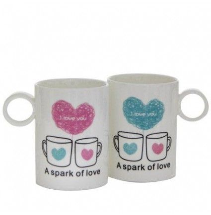 "A very cute 3x4 inches long pair of mugs with ""Spark of love"" written on it would be a perfect gift for your loved one."
