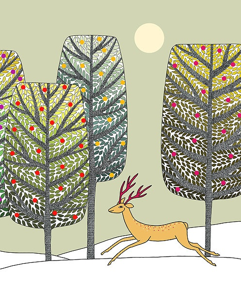Festive...trees and deer...