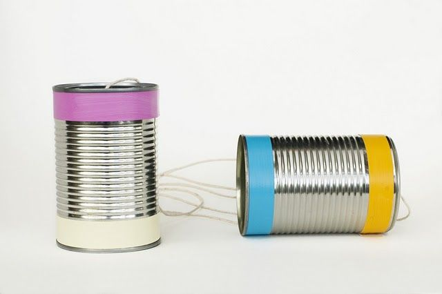 Good old fashioned tin can telephones - Sam would love this!