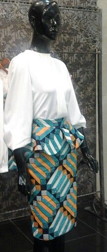 African prints...blue peplum basic skirt +3 tuk blouse...#things that we ♥