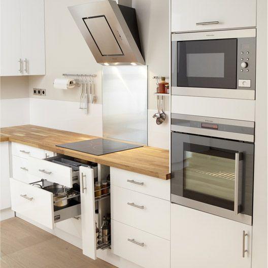 Meuble de cuisine DELINIA, composition type Galaxy, blanc blanc n°0