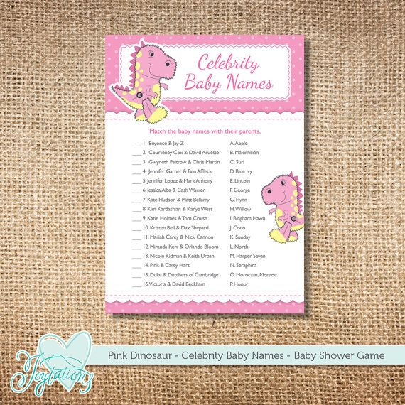 INSTANT DOWNLOAD   Pink Dinosaur Celebrity Baby Names   Baby Shower Game  $4.00 By Joytations