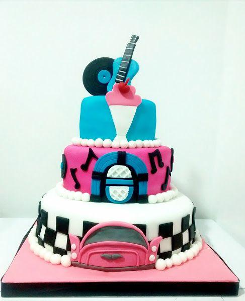 Rock and roll!! Recordando el pasado con esta torta de los 50´s.