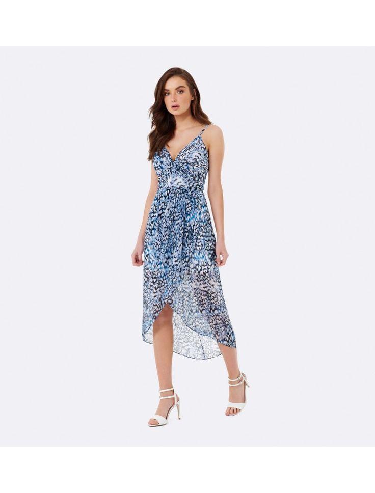 Lily V-Neck Draped Maxi Dress Animal - Womens Fashion | Forever New