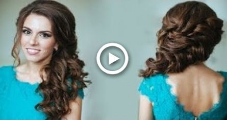 ELEGANT SIDE-SWEPT CURLS WEDDING PROM HAIRSTYLES TUTORIAL | CURLY BRIDAL UPDO FOR LONG H