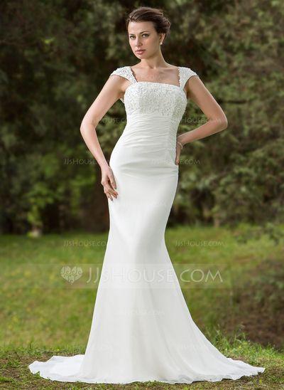 Wedding Dresses - $162.99 - Trumpet/Mermaid Square Neckline Court Train Chiffon Wedding Dress With Ruffle Lace Beading Sequins (002001702) http://jjshouse.com/Trumpet-Mermaid-Square-Neckline-Court-Train-Chiffon-Wedding-Dress-With-Ruffle-Lace-Beading-Sequins-002001702-g1702