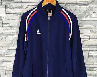 ADIDAS Jacket Windbreaker Mens Large Vintage 90's Adidas Equipment Three Stripes Track Top Sportswear Blue Jacket Adidas Sweaters Size L