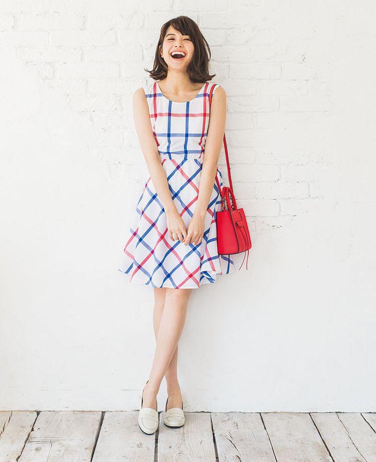 さわやかチェックワンピースで思わず胸キュン♡宮田聡子のコーデ5選 | with 2015年6月号 | iQON(アイコン)