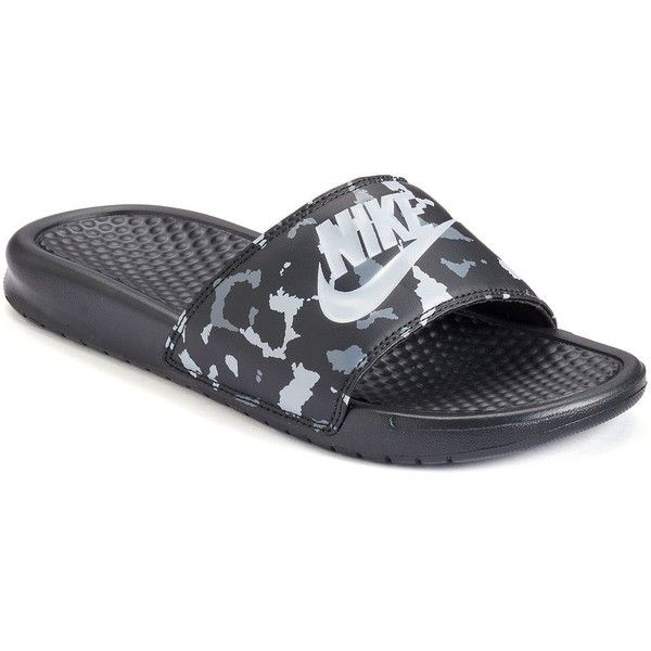 Nike Benassi JDI Women's Flip-Flops, Size: 5, Black Gray ($25) ❤ liked on Polyvore featuring shoes, sandals, flip flops, black gray, grey shoes, nike sandals, open toe sandals, slip-on shoes and black sandals
