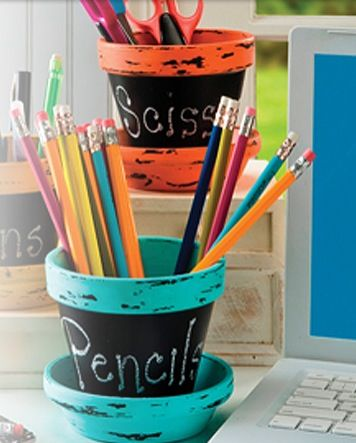 Pencil holder out of flower pot idea craft ideas Cool pencil holder ideas