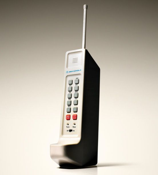 Motorola DynaTAC, Motorola DynaTAC 8000X, was introduced to the public in 1984. This is the first public available cell phone. Compare to today's cell phone, there are many differences. This phone weighted heavier with about 1.75 pounds. When carrying this cell phone, people felt like carrying a brick on their hands or in their bags. Also, the battery can only allow a 30 minute call rather than today's thousands of minute calls.