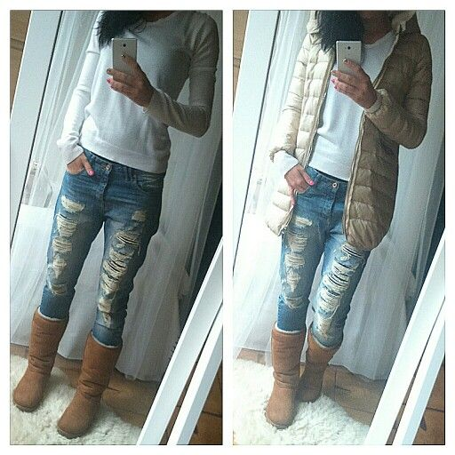 Ripped jeans, bf jeans, boyfriend jeans, winter outfit, ugg boots, ugg shoes, white sweater