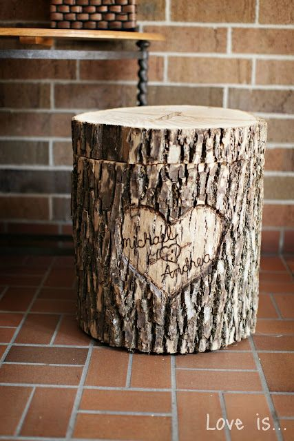 Wedding DIY site. Includes this tree stump card box. So cute
