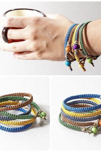 cf4c5ac34e91eb Macrame bracelet – unisex jewelry, hemp bracelet, waxed cotton cord bracelet,  custom color bracelet, eco-friendly bracelet retro | Shop Jewelry Making  and ...