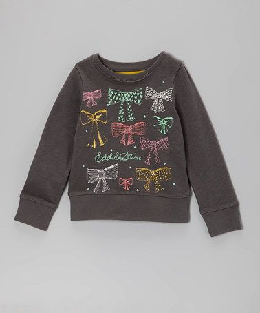 Take a look at this Charcoal Rows of Bows Top - Toddler & Girls by Eddie & Stine by Eddie Bauer on #zulily today!