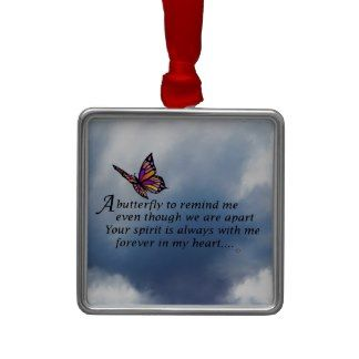 Butterfly  Memorial Poem Christmas Tree Ornaments