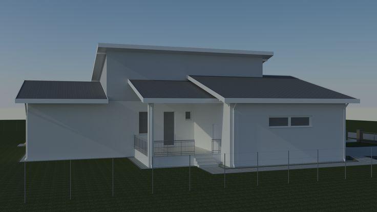 Családiház-tervezés három dimenzióban Az északi homlokzatra alig terveztünk ablakot, mert itt a nyílászáróknak a déli nyílászárókkal ellentétben az energiamérlege negatív.